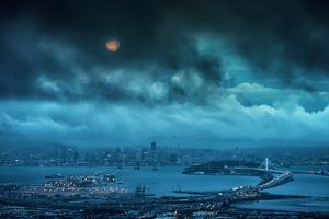Grizzly Moon, Stormy Morning Moon Setting Over San Francisco by Vincent James
