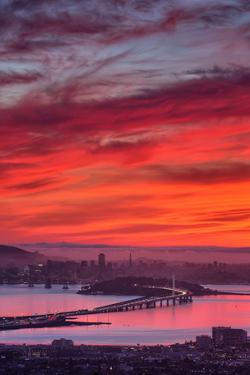 Grizzly Sunset Burn Over San Francisco, Oakland Hills, Bay Area, California by Vincent James