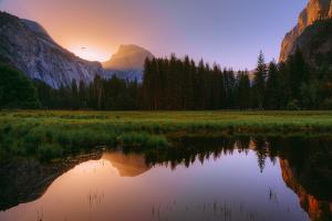 Half Dome Morning Light Beam and Reflection, Cooks Meadow, Yosemite Valley by Vincent James