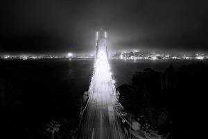 Head On City Bay Bridge Black & White Urban Night Cityscape San Francisco by Vincent James