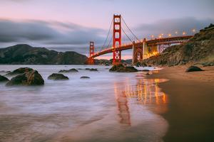 In Reflection at Marshall Beach, Golden Gate Bridge, San Francisco by Vincent James
