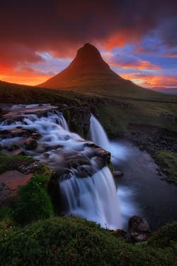 In This Moment, Kirkjufell Midnight Sun, Snæfellsnes Peninsula, Iceland by Vincent James
