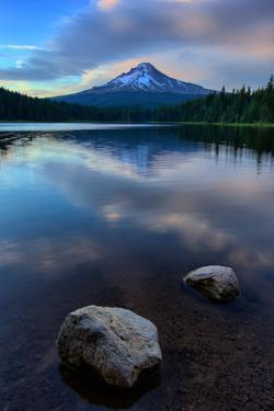 Lake Rocks and Clouds, Trillium Lake Reflection, Summer Mount Hood Oregon by Vincent James