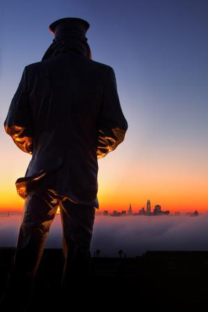 Lone Sailor Sunrise, Low Fog, San Francisco