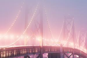 Misty Bridge Lights - San Francisco Bay Fog by Vincent James