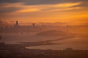 Misty Gold, Golden Clouds Fog and Sunset Light San Francisco Bay Oakland Hills by Vincent James