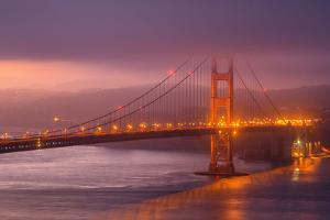 Misty Golden Morning, Golden Gate Bridge, San Francisco by Vincent James