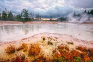 Misty Mud Pot Morning Landscape Yellowstone National Park by Vincent James