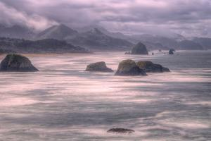 Misty Stormy Morning at Cannon Beach, Oregon Coast by Vincent James