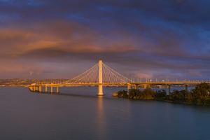 Moody Skies Oakland East Bay Bridge San Francisco Bay by Vincent James