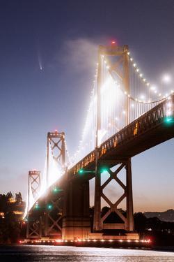 Neon Bridge, Comet Neowise 2020, San Francisco Bay Bridge by Vincent James