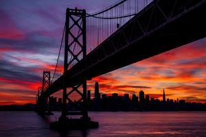 Night Time City Silhouette - After Burn San Francisco Bay Bridge by Vincent James