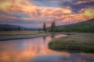 Riverside Sunset and Magical Clouds Yellowstone by Vincent James