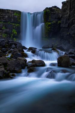 Running Blue, Waterfall Mood, Öxarárfoss, Iceland by Vincent James