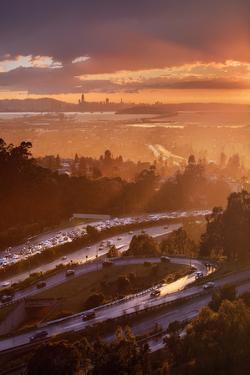 Rush Hour Storm - Sunset Oakland San Francisco  Vincent James by Vincent James