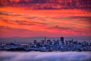 San Francisco Cityscape at Sunrise and Sweet Candy Skies by Vincent James