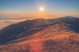 Scene at Bolinas Ridge at Sunset Mount Tampalais by Vincent James