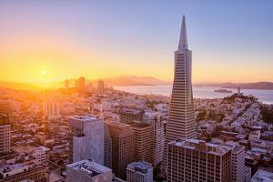 Setting Sun Over Cityscape, Golden Gate Bridge, Downtown San Francisco by Vincent James