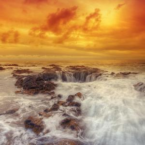 Stormy Sunset at Thor's Well, Oregon Coast by Vincent James