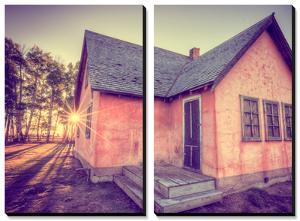 Sun and Old Mormon House, Mormon Row, Wyoming by Vincent James