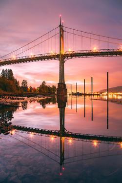 Sunrise Reflection at St. John's Bridge, Portland, Oregon PDX by Vincent James