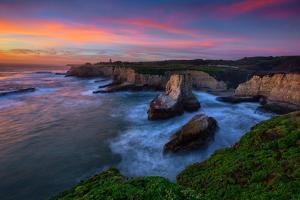 Sunset at Shark Tooth Cove, Santa Cruz California Coast by Vincent James
