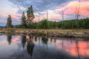 Sunset Stream Scene, Gibbon River, Yellowstone by Vincent James