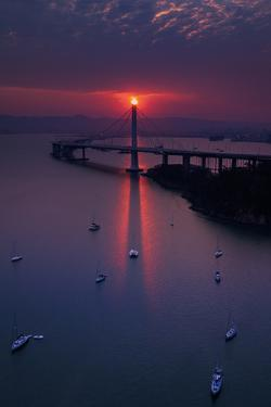 The Eye - Rare Alignment East Bay Bridge Boat Harbor Oakland Bay Area by Vincent James