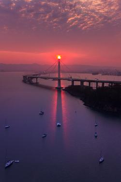 The Eye - Sunrise Special East Bay Bridge Boat Harbor Oakland Bay Area by Vincent James