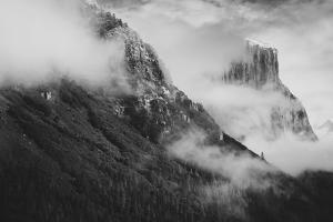 Tunnel View at Yosemite Winter Morning Snow Beautiful  Black White Valley Hills by Vincent James