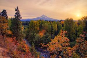 Warm Autumn Evening, Outside Hood River, Mount Hood, Oregon by Vincent James