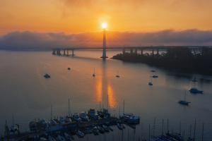 We All Shine On - Oakland East Bay Bridge San Francisco Bay by Vincent James