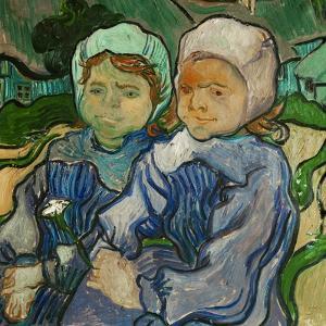 2 fillettes. Oil on canvas (June 1890) 51.2 x 51 cm R.F. 1954-16. by VINCENT VAN GOGH