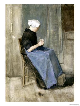 A Young Scheveningen Woman Knitting by Vincent van Gogh
