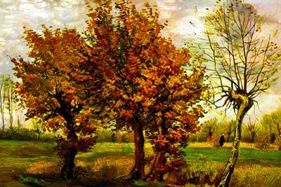 Vincent Van Gogh Autumn Landscape with Four Trees Plastic Sign
