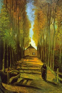 Autumn Tree Lined Lane Leading To a Farm House by Vincent van Gogh