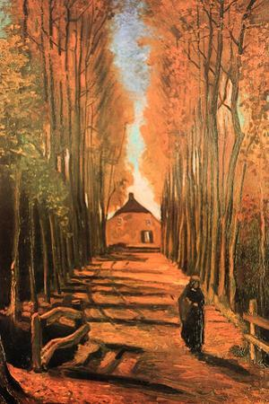 Vincent Van Gogh Avenue of Poplars in Autumn Plastic Sign