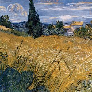 Champ de blé vert avec cypres (Détail) by Vincent van Gogh