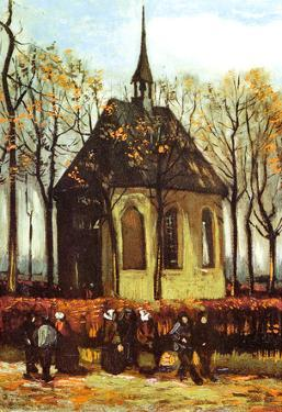 Vincent Van Gogh Congregation Leaving the Reformed Church in Nuenen Art Print Poster