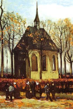 Vincent Van Gogh Congregation Leaving the Reformed Church in Nuenen Plastic Sign