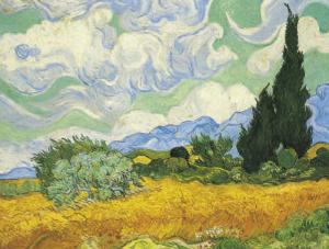 Cornfield with Cypresses by Vincent van Gogh