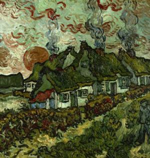 Cottages and Setting Sun by Vincent van Gogh