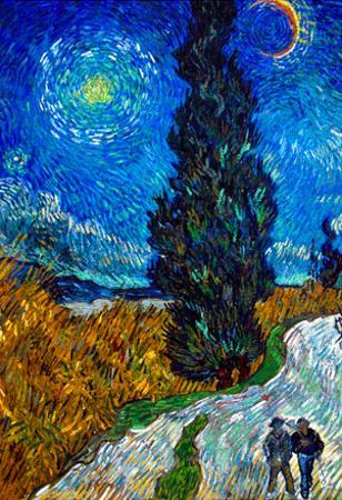 Vincent Van Gogh Country Road in Provence by Night Art Print Poster