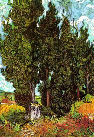 Vincent Van Gogh Cypresses with Two Female Figures Art Print Poster