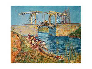 Drawbridge at Arles with a group of washerwomen (pont de Langlois, Arles, France). Oil on canvas. by Vincent van Gogh