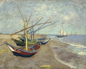 Fishing Boats on the Beach at Les Saintes-Maries-De-La-Mer by Vincent van Gogh
