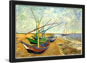 Vincent Van Gogh (Fishing boats on the beach at Saintes-Maries) Art Poster Print