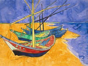 Fishing Boats on the Beach at Saintes-Maries-De-La-Mer by Vincent van Gogh