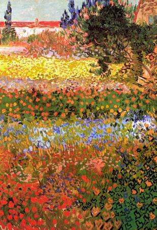 Vincent Van Gogh Flowering Garden Art Print Poster