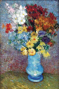 Flowers in a Blue Vase by Van Gogh by Vincent van Gogh